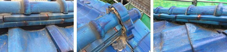瓦の割れ・ズレ・漆喰の剥離・ひび割れ・流出